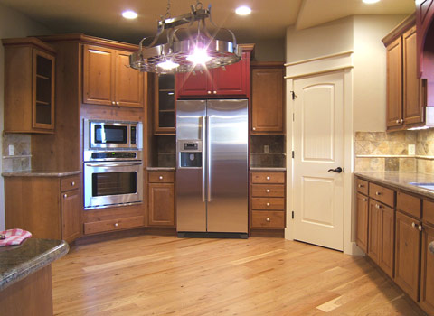 Glass cabinet doors, stainless oven & micro wave, Bosch frig... large pantry w/auto light...