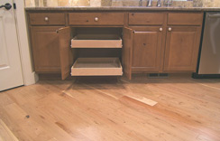 Custom cabinets features many pull-out drawers...